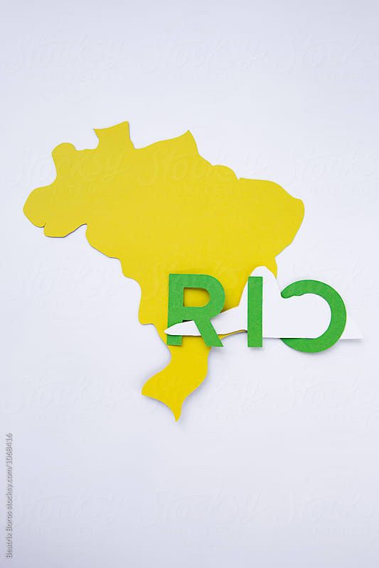 Rio's name written on the shape of Brazil with the shape of the sugarloaf Mountain made of paper by Beatrix Boros for Stocksy United