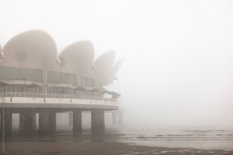 Futuristic Building in the Fog by Good Vibrations Images for Stocksy United