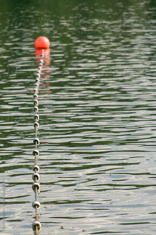 buoy and rope protecing swimming area at lake by Deirdre Malfatto for Stocksy United