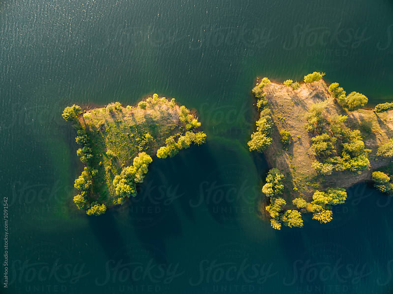Aerial view of island in the lake by Maa Hoo for Stocksy United