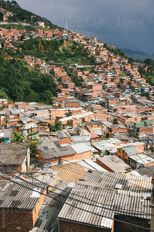 Cityscape - City view of Medellin slums, Colombia by Alejandro Moreno de Carlos for Stocksy United