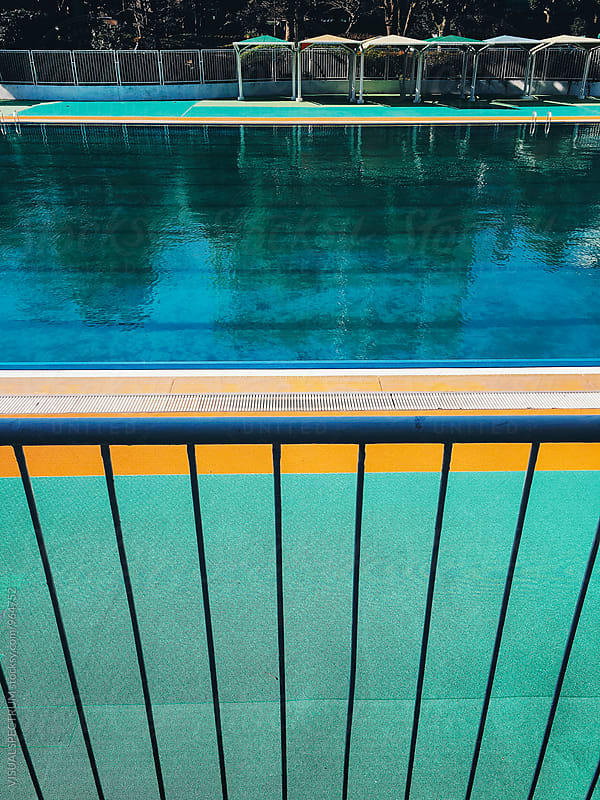 Outdoor Pool on Sunny Day by VISUALSPECTRUM for Stocksy United