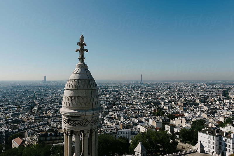 Beautiful skyline view of Paris from Sacre Coeur Church by Trent Lanz for Stocksy United