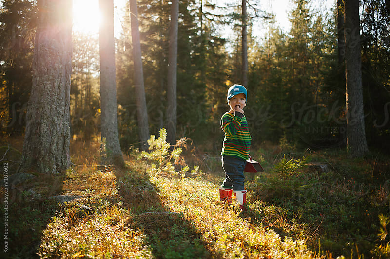 Little boy with red boots standing in the forest. by Koen Meershoek for Stocksy United