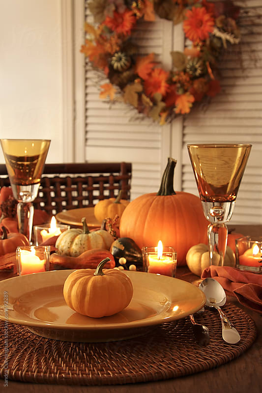 Festive autumn place settings for Thanksgiving by Sandra Cunningham for Stocksy United