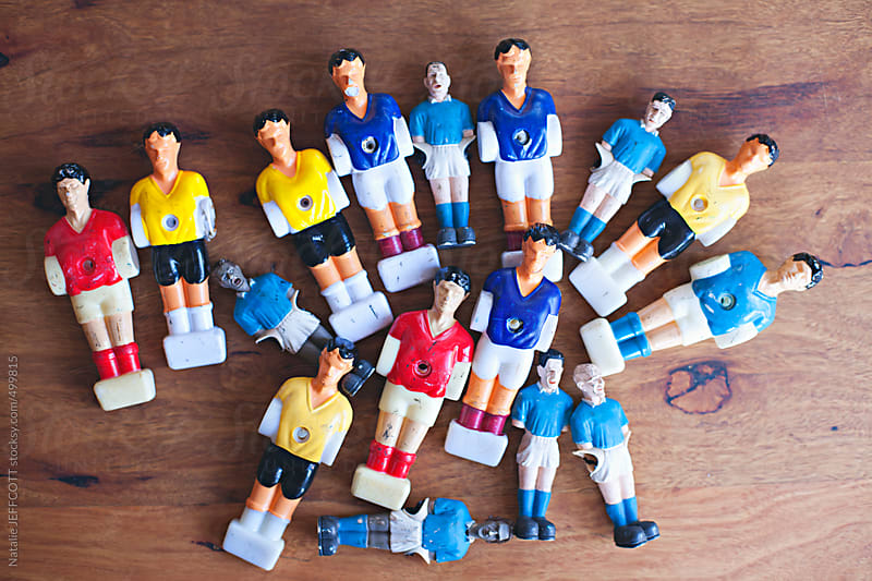 collection of table top football game players by Natalie JEFFCOTT for Stocksy United