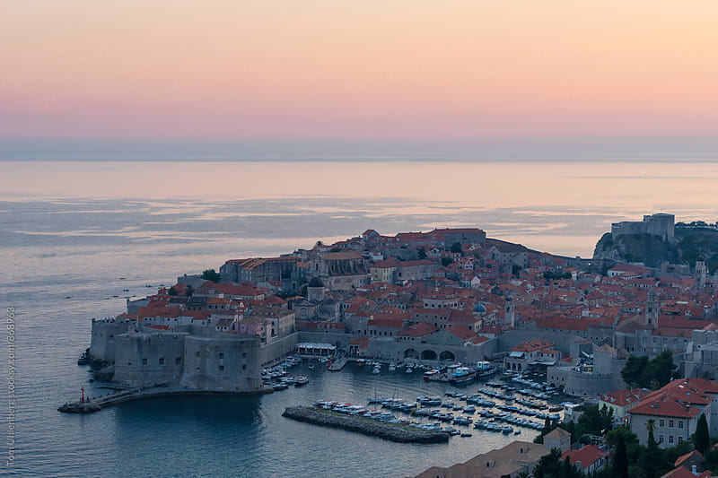 Dubrovnik, Croatia - Elevated View of the Old Town at Twilight by Tom Uhlenberg for Stocksy United