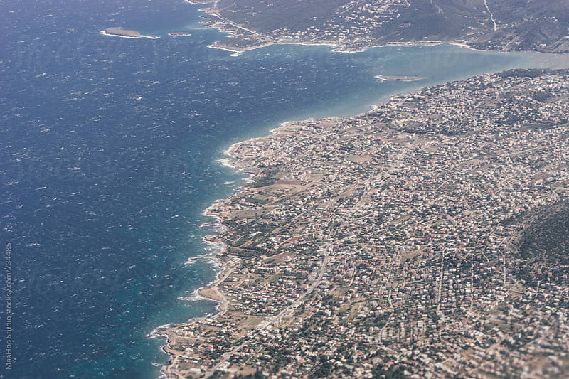 Views of Athens from an airplane window by Maa Hoo for Stocksy United