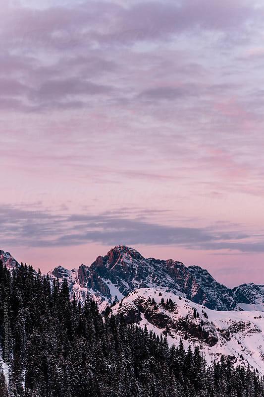 sunset in the austrian alps by Leander Nardin for Stocksy United