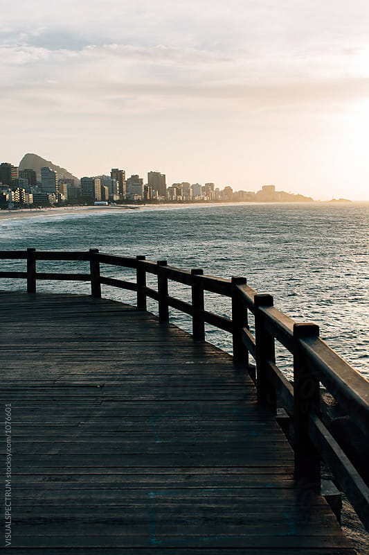 Rio de Janeiro - Leblon and Ipanema Beach With Sugarloaf in Golden Morning Light by VISUALSPECTRUM for Stocksy United