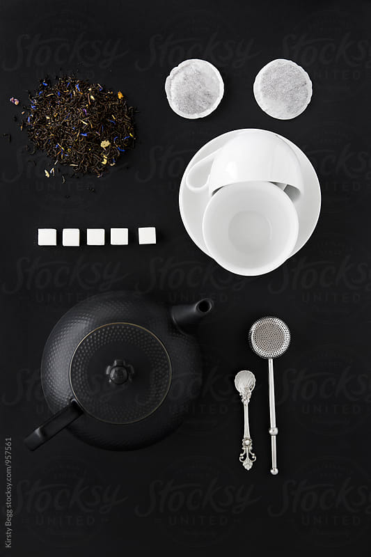 Flat lay of tea making equipment by Kirsty Begg for Stocksy United