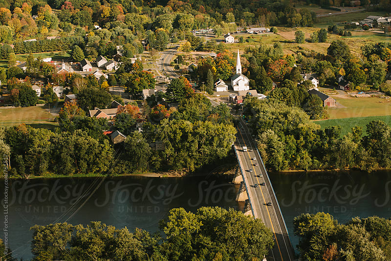Aerial View Small New England Town in Autumn by Raymond Forbes LLC for Stocksy United