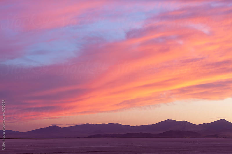 Dramatic sky and clouds over Bonneville Salt Flats, UT by Paul Edmondson for Stocksy United