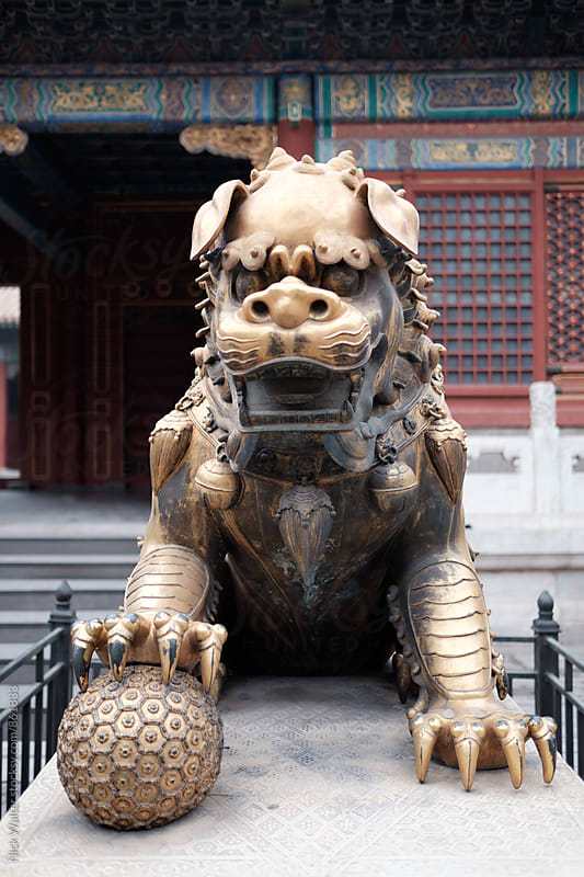 Guardian statue outside of Chinese Summer Palace by Nick Walter for Stocksy United
