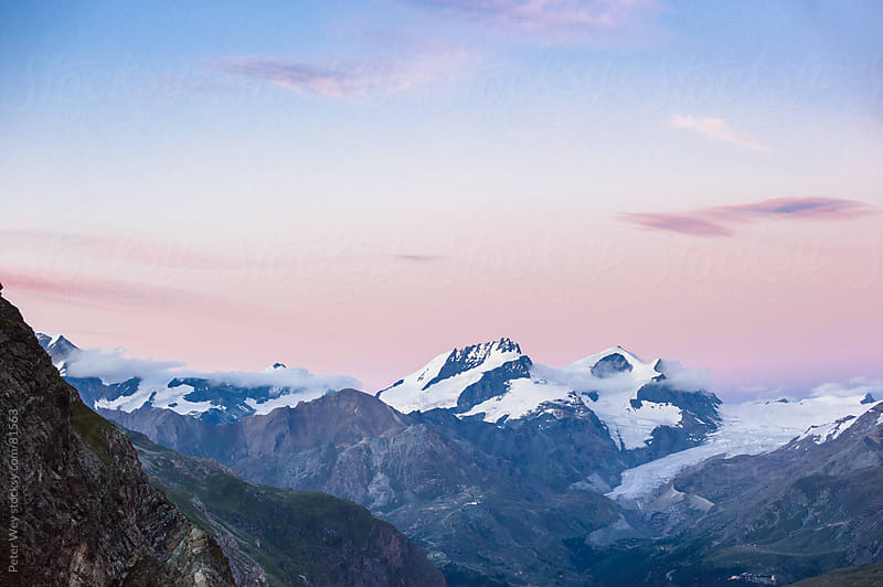 Panorama with Allalinhorn, Rimpfischorn and Strahlhorn after sun by Peter Wey for Stocksy United