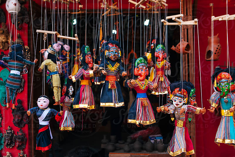 Puppets of hindu god/goddesses on sale at curio shops. by Shikhar Bhattarai for Stocksy United
