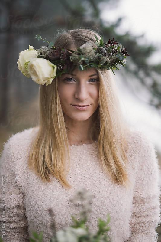 Beautiful blonde woman in the woods by Török-Bognár Renáta for Stocksy United