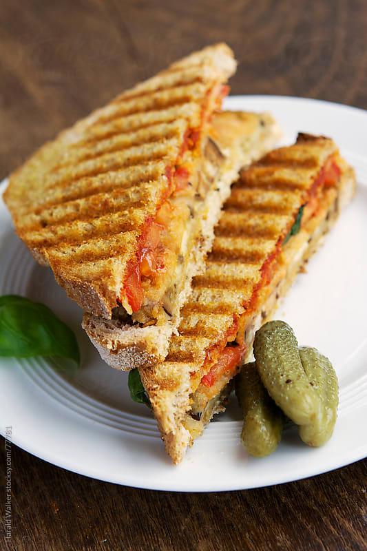 Breaded Eggplant Grilled Cheese Sandwiches by Harald Walker for Stocksy United