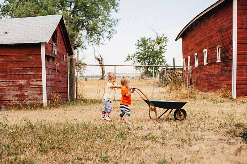 Young toddler siblings working together to push a wheelbarrow on a farm. by Jessica Byrum for Stocksy United