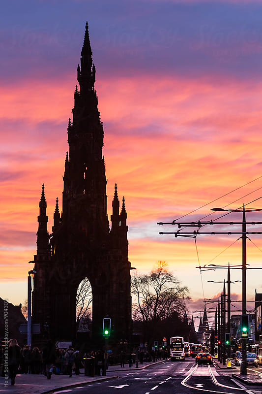 Sunset at Princes Street in Edinburgh by Helen Sotiriadis for Stocksy United