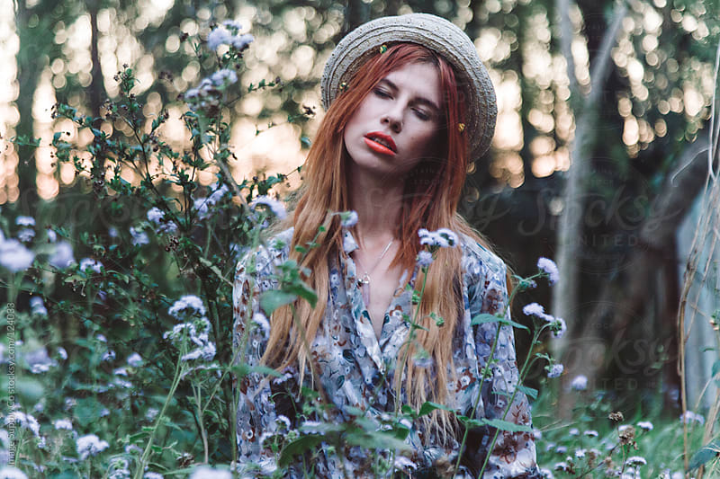 young girl in field by Image Supply Co for Stocksy United