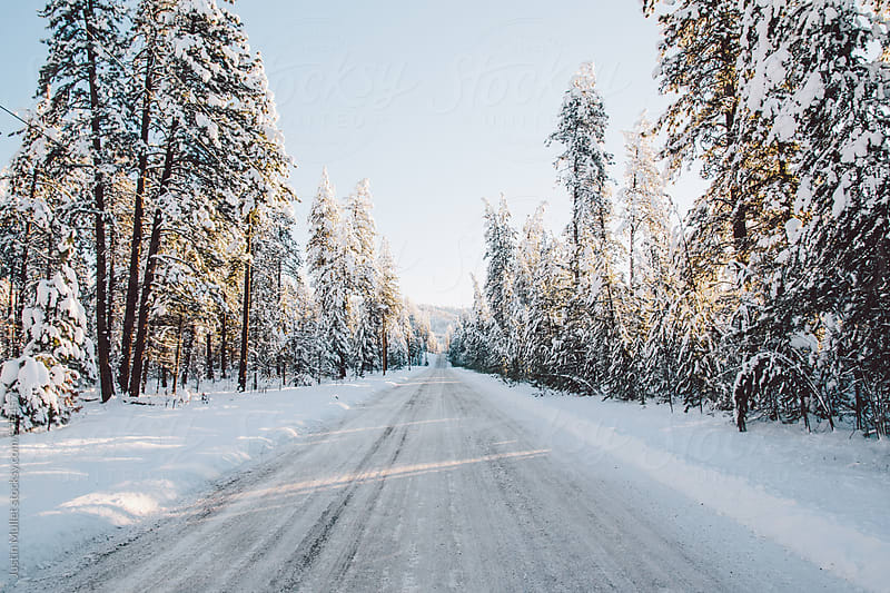 A long straight road on a beautiful winter morning. by Justin Mullet for Stocksy United