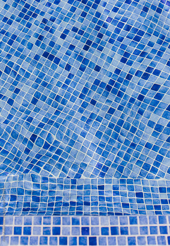 Background texture of blue mosaic tiles by Amir Kaljikovic for Stocksy United