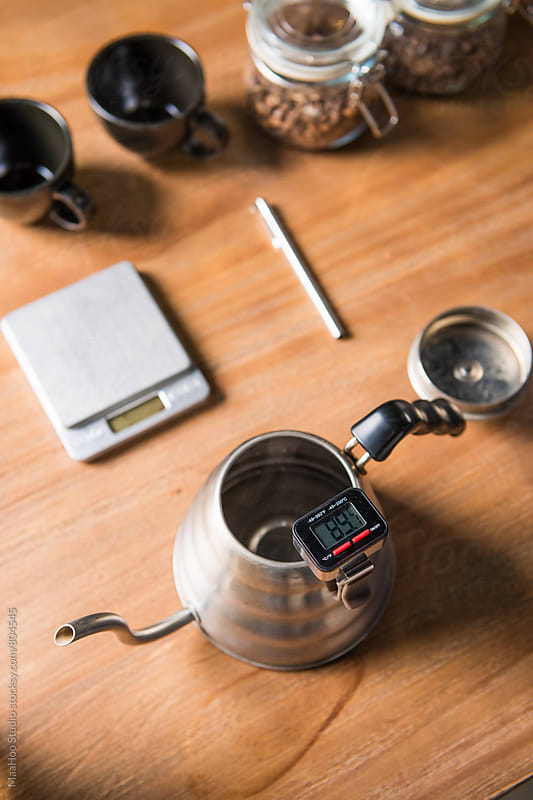 Thermometer in coffee pot by MaaHoo Studio for Stocksy United
