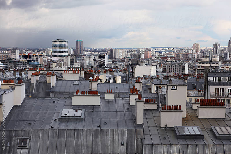 Looking Over The Rooftops Of Paris France On A Cloudy Day by ALICIA BOCK for Stocksy United