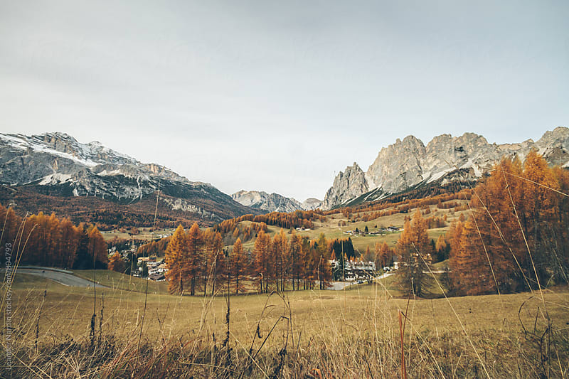 panorama of an autumnal landscape in the italian alps - cortina d´ampezzo by Leander Nardin for Stocksy United