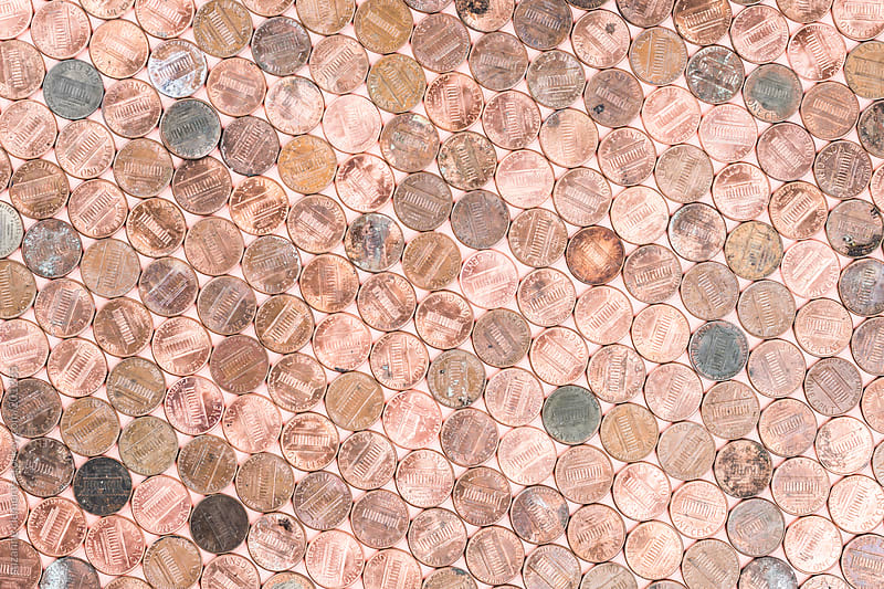 Coper American Pennies Patterned Background by suzanne clements for Stocksy United