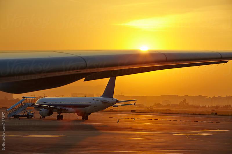 airport sunrise by Bo Bo for Stocksy United