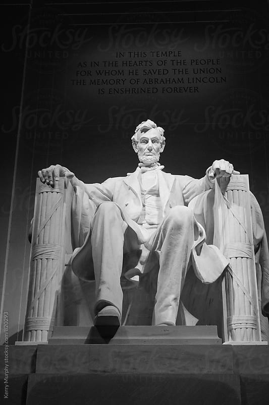 Lincoln Memorial at night in black and white by Kerry Murphy for Stocksy United