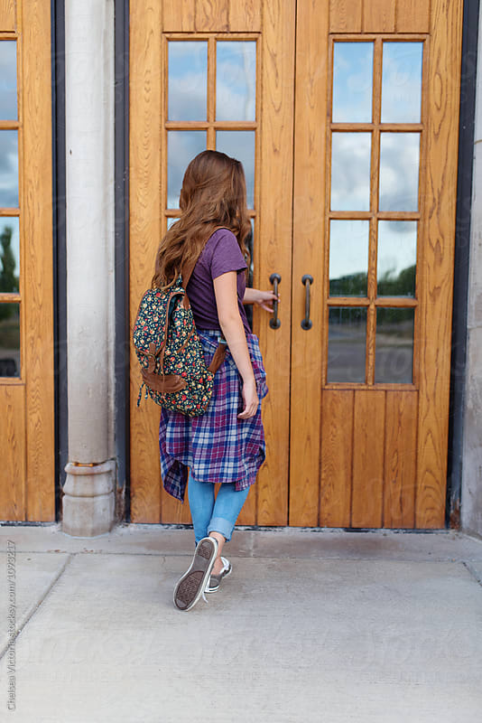 A young student on her first day of school by Chelsea Victoria for Stocksy United