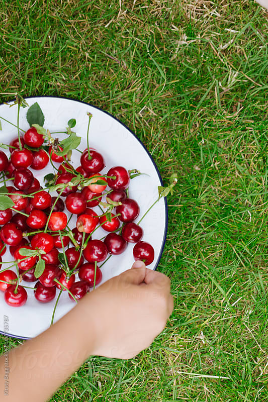 Child placing a cherry on a plate, taken overhead by Kirsty Begg for Stocksy United