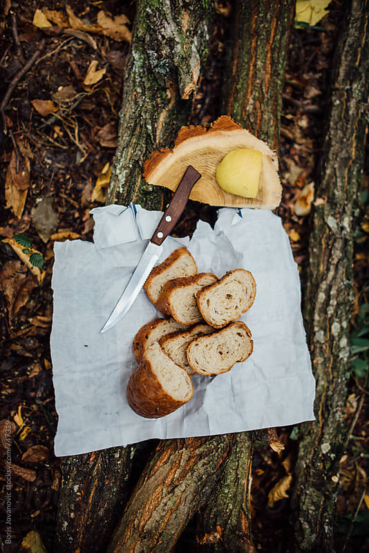 Above shot of bread and pear by Boris Jovanovic for Stocksy United