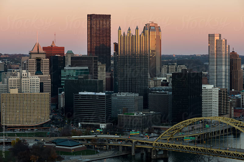 Pittsburgh Pennsylvania Downtown Skyline at Dusk by Studio Six for Stocksy United