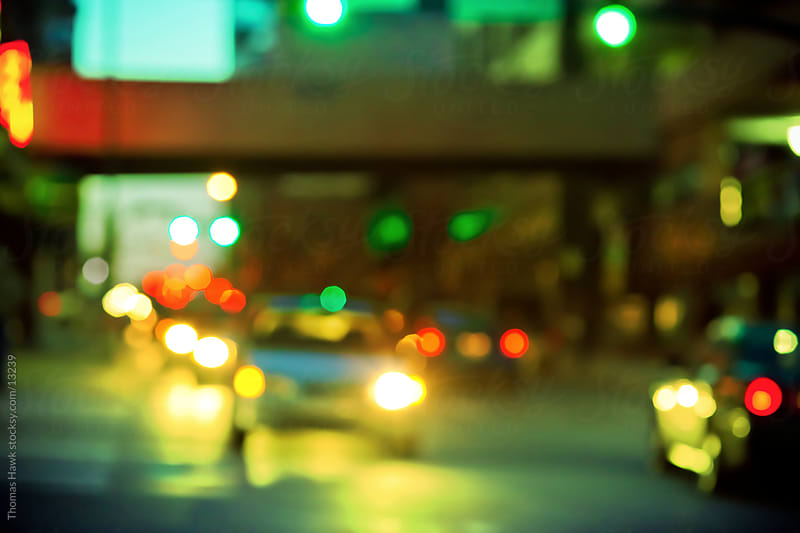 Out of focus dusk street scene in Nashville by Thomas Hawk for Stocksy United