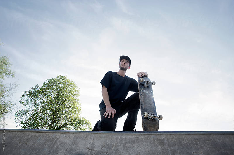 Skateboarder practising skills.  by Hugh Sitton for Stocksy United