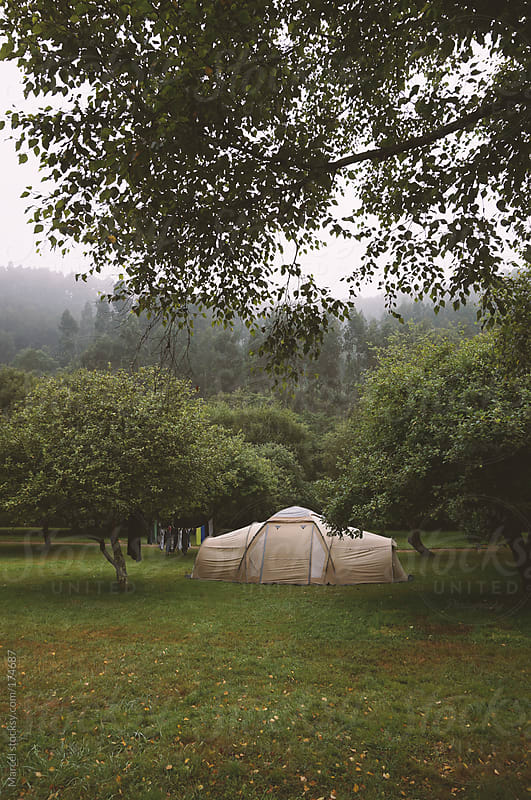 Familytent on a campsite by Marcel for Stocksy United