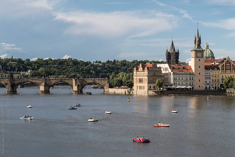 View across the Vltava River to Prague'S Old Town and Charles Bridge by Melanie Kintz for Stocksy United