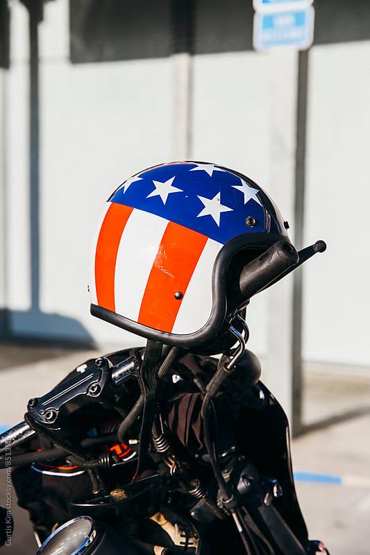 American flag easy rider motorcycle helmet by Curtis Kim for Stocksy United