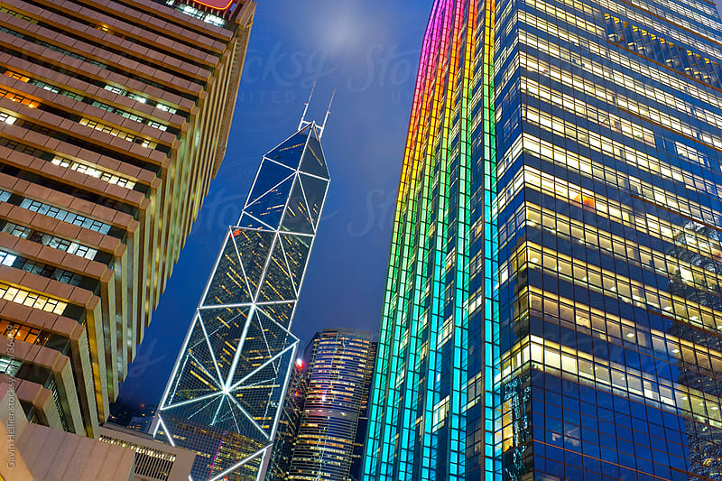 Hong Hong Kong skyline at dusk, Central business and financial district, Bank of China building, Hong Kong Island, China by Gavin Hellier for Stocksy United