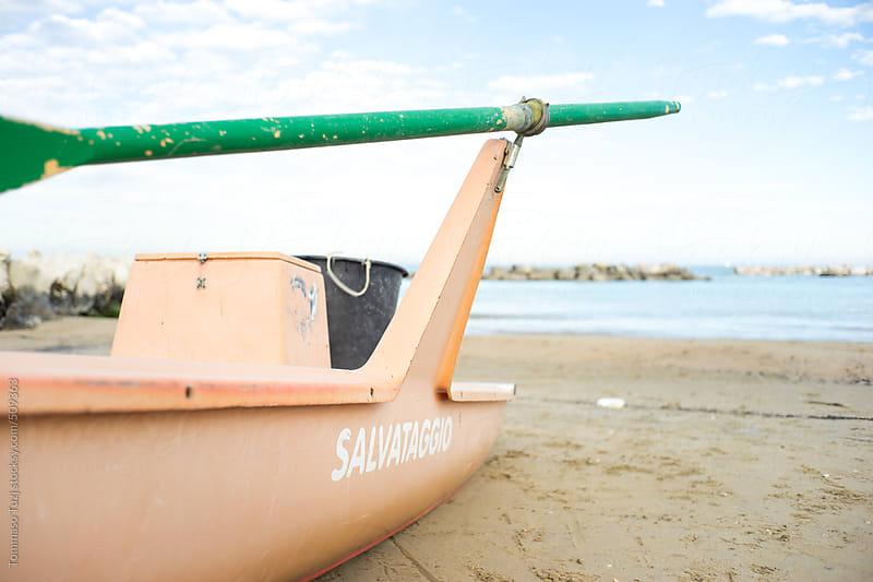 Rescue Boat on Italian Beach by Tommaso Tuzj for Stocksy United