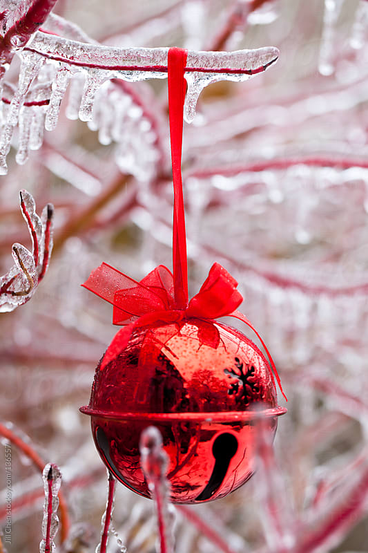 Red Christmas Ornament on Icy Branch by Jill Chen for Stocksy United