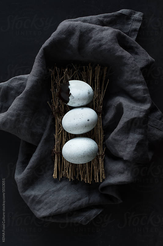 Three eggs on a fabric linen by KEMA Food Culture for Stocksy United