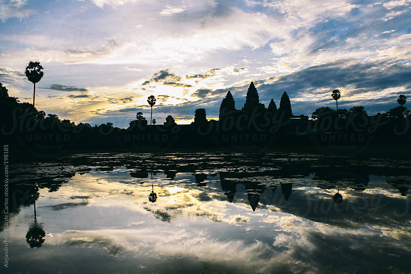 Angkor Wat temple silhouette at sunrise by Alejandro Moreno de Carlos for Stocksy United