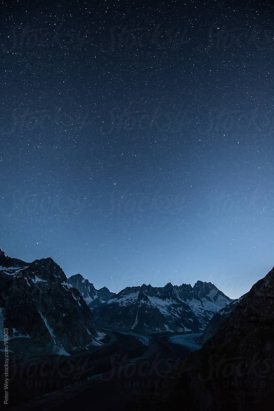 Nightscape from SAC Lauteraar mountain hut  by Peter Wey for Stocksy United