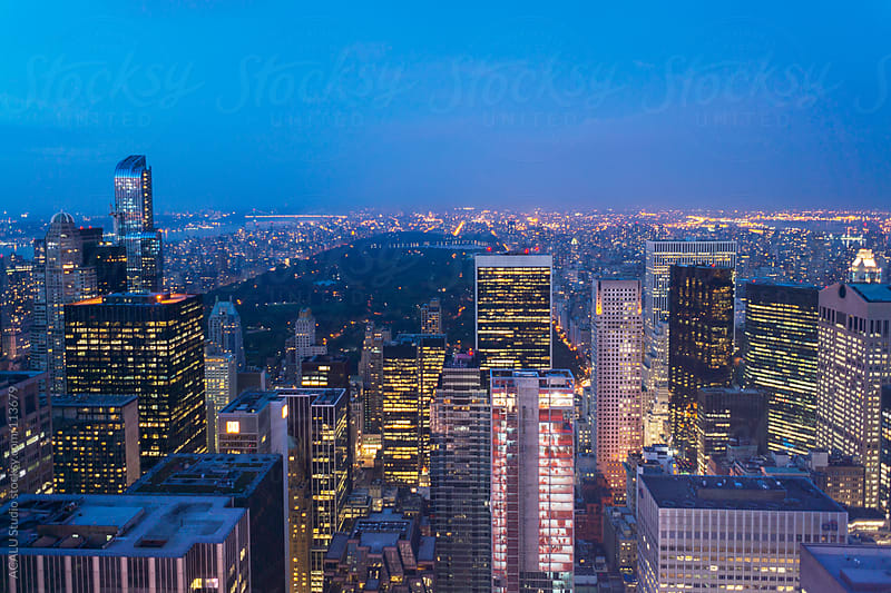 Blue hour in Central Park by ACALU Studio for Stocksy United