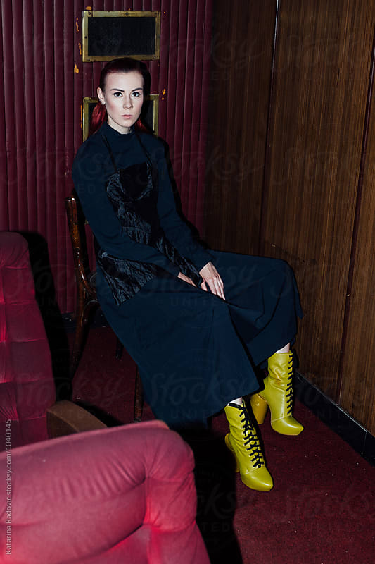 Fashion Model Sitting While Posing by Katarina Radovic for Stocksy United
